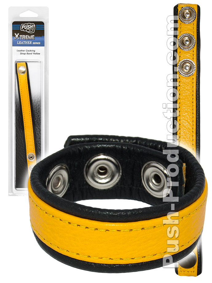 Push Xtreme Leather - Leather Cockring Strap Band Yellow